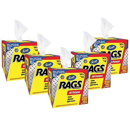 Scott Rags in a Box, White (350 per box, 5 boxes)