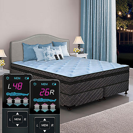 Dual Digital Memories Ultra Hi-Profile California King Pillowtop Air Bed and Foundation Set