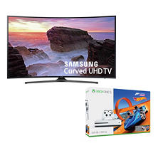 "Samsung 55"" Class 4K Ultra HD Smart Curved LED TV - UN55MU650D and Microsoft Xbox One S 500GB Forza Horizon 3 Bundle"