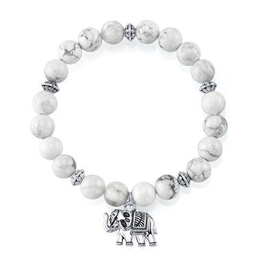 Sterling Silver And White Howlite Bead Stretch Bracelet With