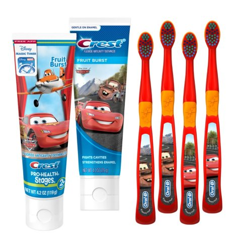 Oral-B and Crest Kids PRO-Health Manual Toothbrush and Toothpaste Bundle, Disney Pixar Cars