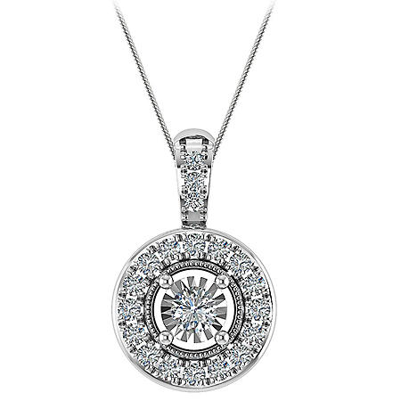 0.09 CT. T.W. Diamond Pendant in 14K White Gold