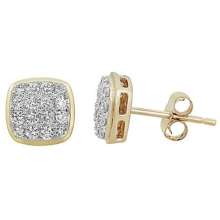0.50 CT. T.W. Diamond Earrings in 14K Yellow Gold