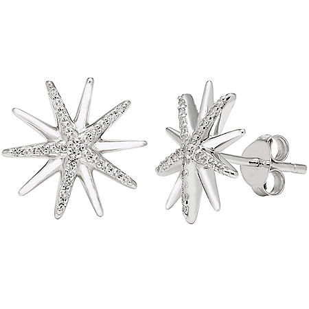 0.14 CT. T.W. Sterling Silver Diamond Starburst Earrings