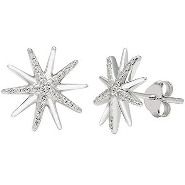 0 14 Ct T W Sterling Silver Diamond Starburst Earrings