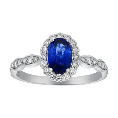 0.75 Carat Blue Sapphire Oval Diamond Ring in 14K White Gold