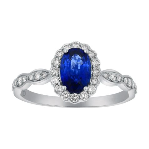 0.75 Carat Blue Sapphire Oval Diamond Ring in 14K White Gold