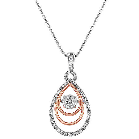 S Collection 0.50 Carat Tear Drop Two-Tone Diamond Pendant in 14K Gold