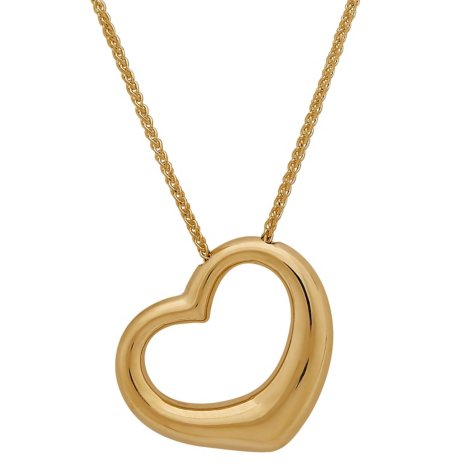 "18"" Open Heart Pendant 14K Yellow Gold"