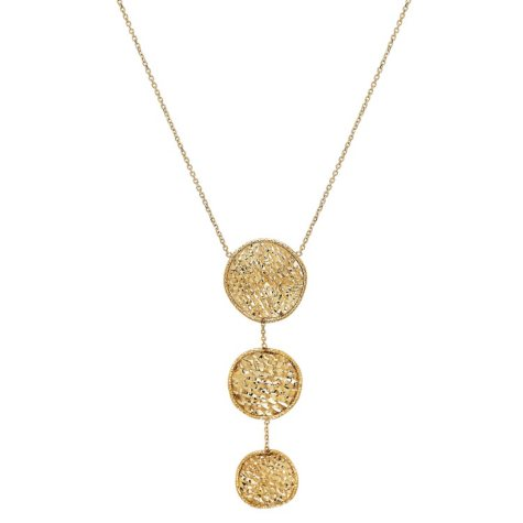 "18"" Italian Graduated Disc Drop Necklace in 14K Yellow Gold"