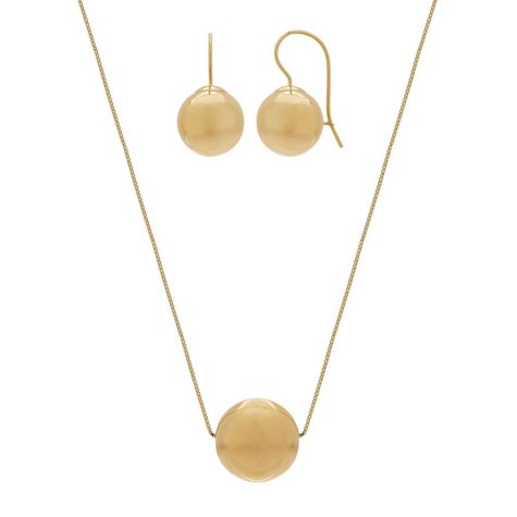 "12MM 18"" Bead Pendant and Earrings Set in 14K Yellow Gold"