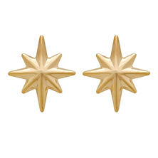 North Star Stud Earrings in 14K Yellow Gold