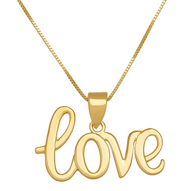 18 love script pendant in 14k yellow gold sams club 18 aloadofball Image collections