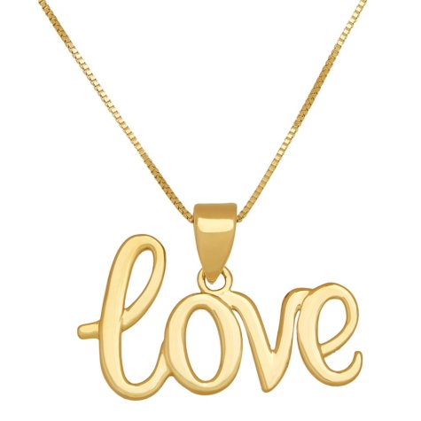 "18"" ""Love"" Script Pendant in 14K Yellow Gold"