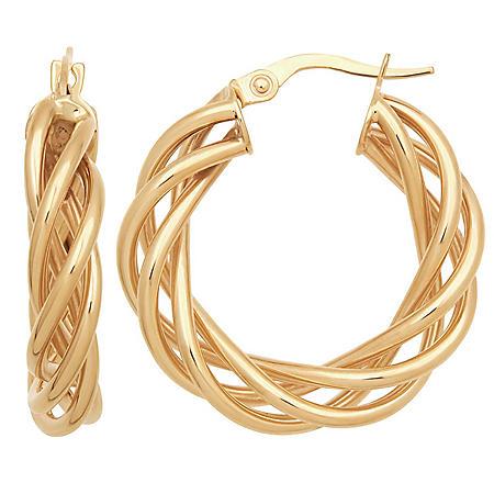 Italian Braided Hoop Earrings in 14K Yellow Gold