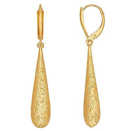Diamond-Cut Long Teardrop Earrings in 14K Yellow Gold