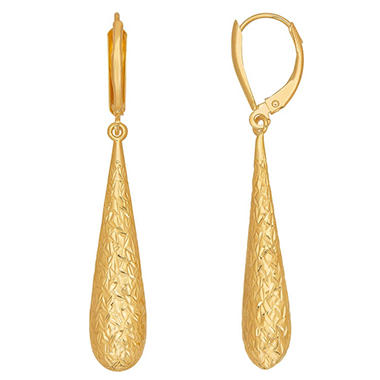 Diamond Cut Long Teardrop Earrings In 14k Yellow Gold