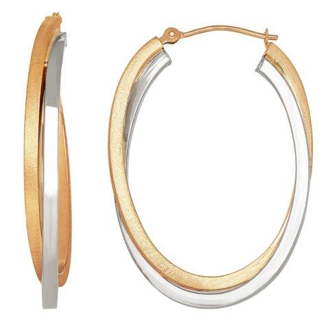 Crossover Satin Hoop Earrings in 14K Gold