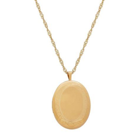 "20MM 24"" Oval Locket in 14K Yellow Gold"