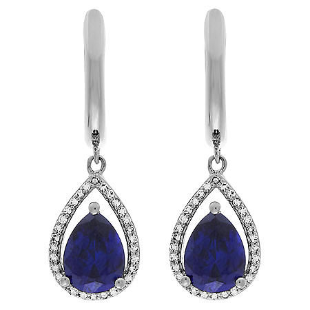 Lab Sapphire Drop Earrings with 0.18 ct. t.w. Diamond in Sterling Silver