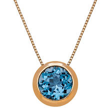 "20"" 7MM Blue Topaz Bezel Pendant in 14K Yellow Gold"