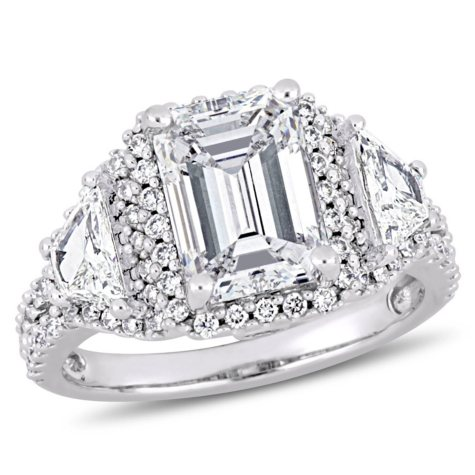 Allura 3.75 CT Emerald Cut Diamond 3-Stone Halo Engagement Ring in 14k White Gold