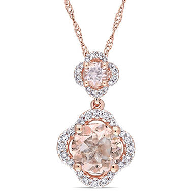 1.32 CT TGW Morganite and 0.20 CT Diamond Halo Quatrefoil Tiered Pendant in 14k Rose Gold