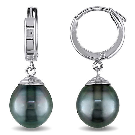 9-10 mm Black Drop Tahitian Pearl Earrings in 14K White Gold