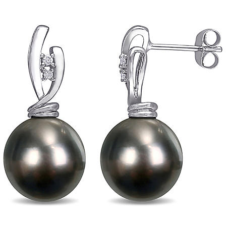 11-11.5 mm Black Round Tahitian Pearl and Diamond Accent Drop Earrings in 14K White Gold