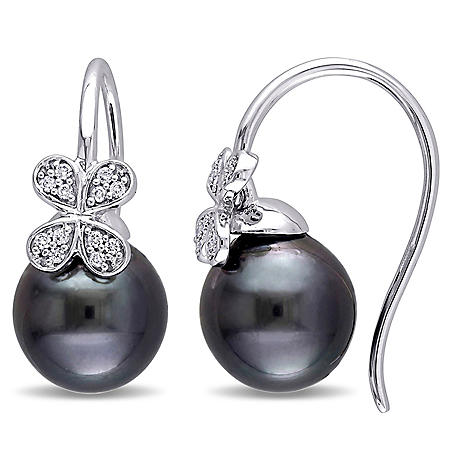 9.5-10 mm Black Drop Tahitian Pearl and 0.12 CT. Diamond Flower Earrings in 14K White Gold