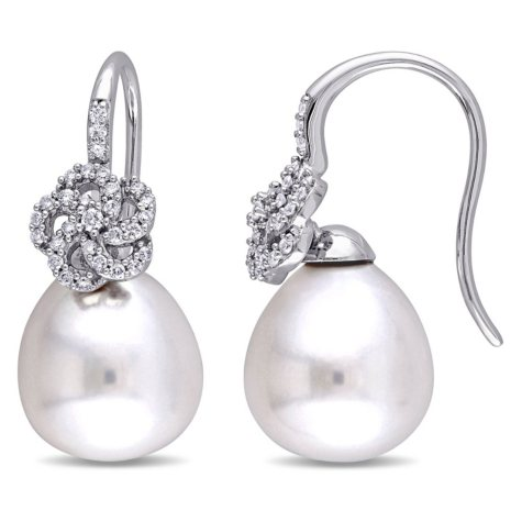 10-10.5 mm White Drop South Sea Pearl and 0.26 CT. Diamond Floral Earrings in 14K White Gold