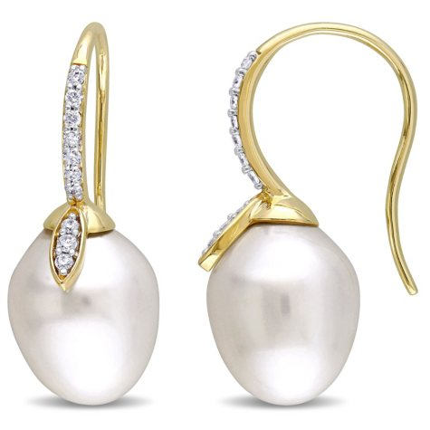 10-10.5 mm White Drop South Sea Pearl and 0.21 Diamond Earrings in 14K Yellow Gold