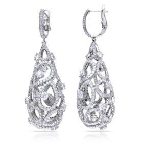 Allura 10.24 CT Diamond Vintage Drop Earrings in 14K White Gold