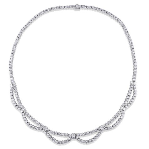 Allura 16.22 CT Baguette and Round Cut Diamond Collar Necklace in 18K White Gold