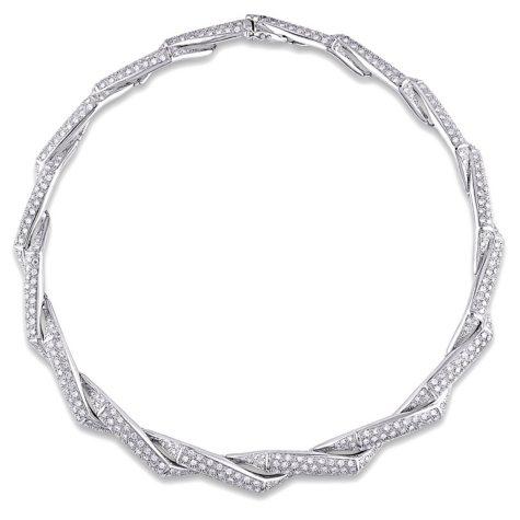 Allura 10.60 CT Diamond Twist Collar Necklace in 18K White Gold
