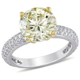 Allura 3.61 CT Yellow and White Diamond Engagement Ring in 14K White Gold