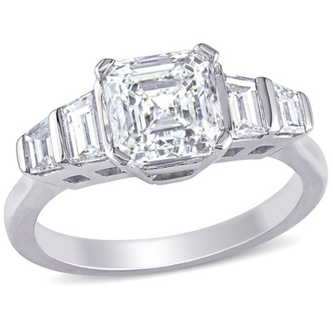 Allura 2 CT Asscher Cut Diamond 5-Stone Engagement Ring in 18K White Gold