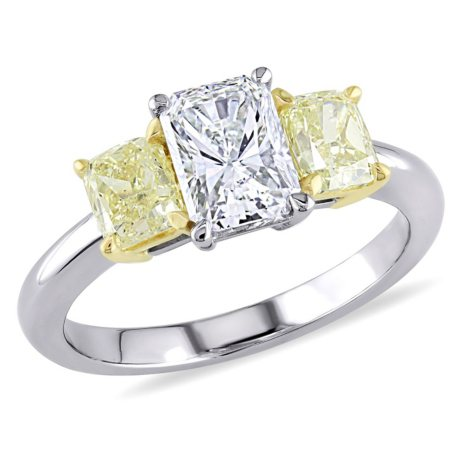 Allura 2 CT White and Yellow Radiant Cut Diamond 3-Stone Engagement Ring in 19K White Gold