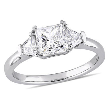 Allura 1.81 CT Princess Cut Diamond 3-Stone Engagement Ring in 14K White Gold