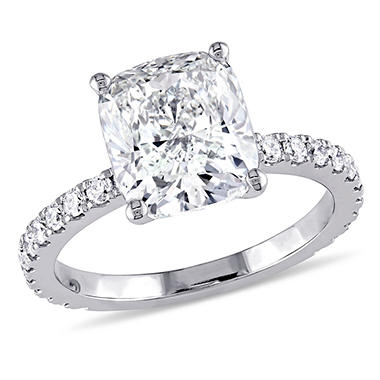 Allura 4 CT Cushion Cut Diamond Engagement Ring in 19K White Gold