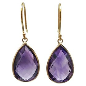 Pear Shaped Purple Amethyst  Dangle Earrings in 14 Karat Yellow Gold