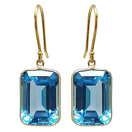 Emerald Cut Swiss Blue Topaz Dangle Earrings in 14 Karat Yellow Gold