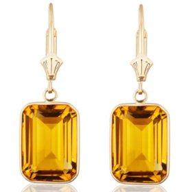 Emerald Cut Citrine Dangle Earrings in 14 Karat Yellow Gold