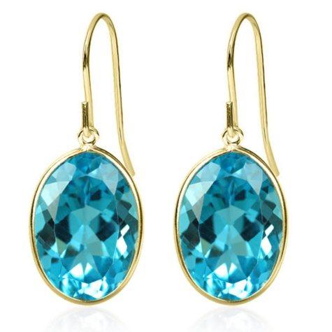 Oval Shaped Swiss Blue Topaz Dangle Earrings in 14 Karat Yellow Gold