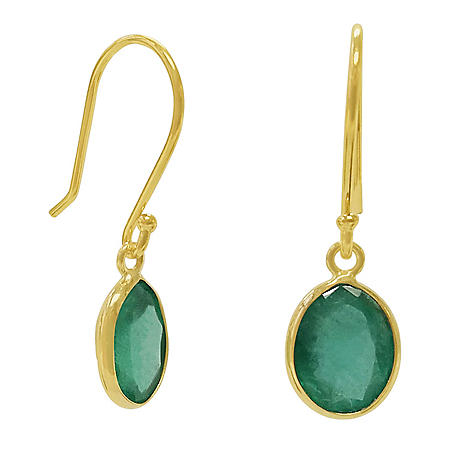 Oval Shaped Emerald Dangle Earrings in 14 Karat Yellow Gold