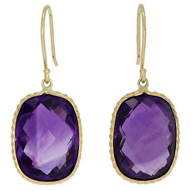 Cushion Cut Purple African Amethyst Dangle Earrings In 14 Karat Yellow Gold