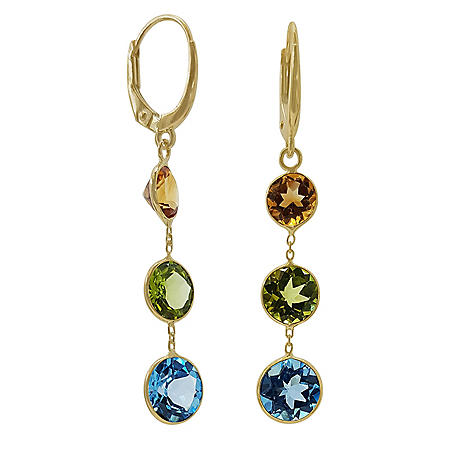 Multi Gemstone Earrings in 14 Karat Yellow Gold