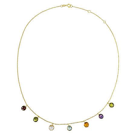Multi Gemstone Necklace in 14 Karat Yellow Gold
