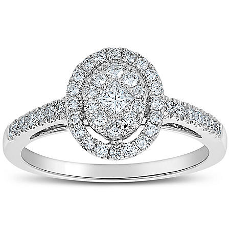 0.50 CT. T.W. Oval Shaped Diamond Engagement Ring in 14 Karat White Gold