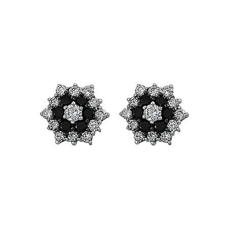S Collection 1 CT. T.W. Black and White Diamond Flower Stud Earrings in 14K White Gold